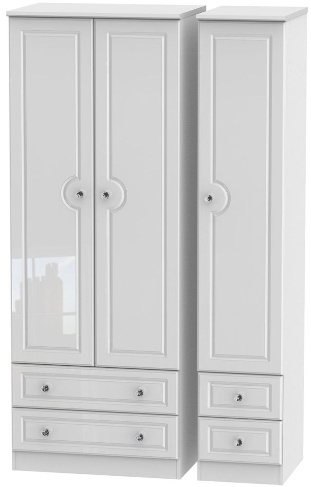 Balmoral High Gloss White 3 Door 4 Drawer Tall Wardrobe