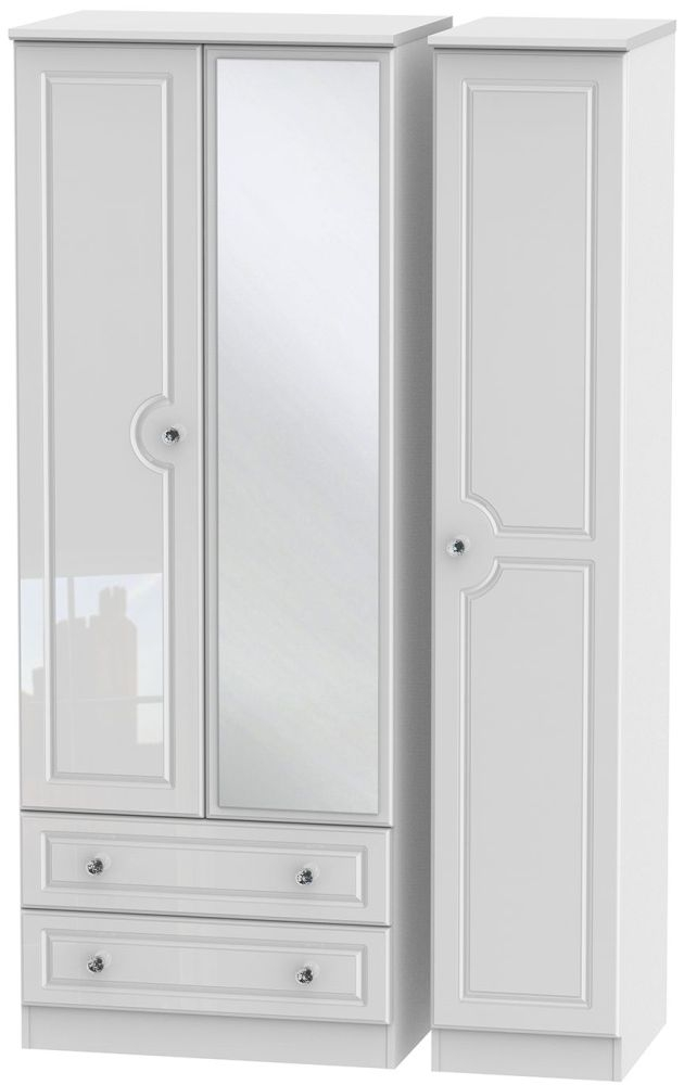 Balmoral High Gloss White 3 Door 2 Left Drawer Tall Mirror Triple Wardrobe
