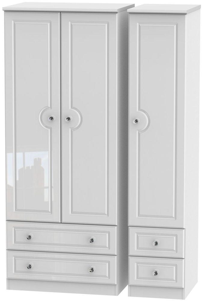 Balmoral High Gloss White 3 Door 4 Drawer Wardrobe
