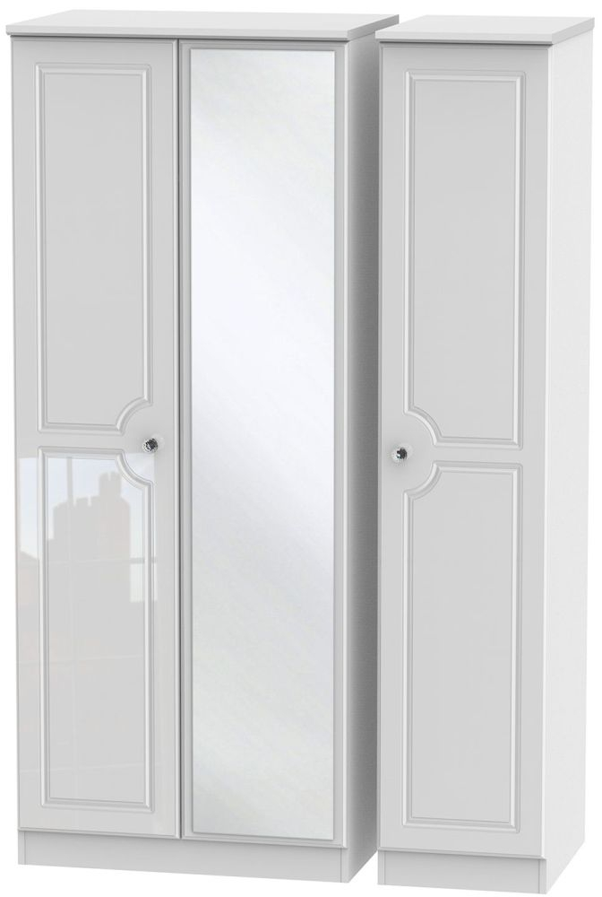 Balmoral High Gloss White 3 Door Mirror Wardrobe
