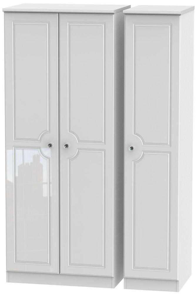 Balmoral High Gloss White 3 Door Plain Triple Wardrobe