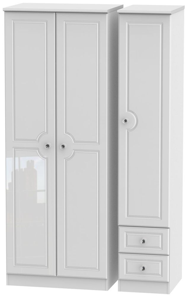 Balmoral High Gloss White 3 Door 2 Right Drawer Tall Wardrobe