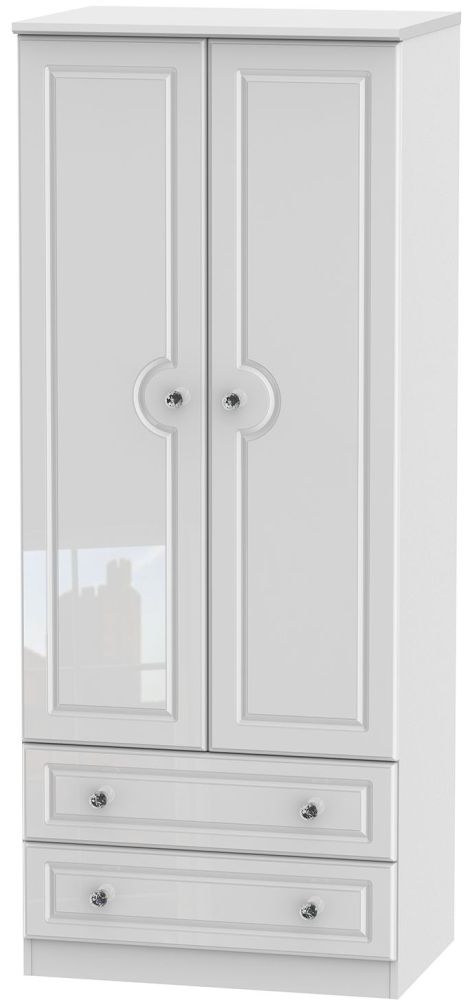 Balmoral High Gloss White 2 Door 2 Drawer Wardrobe