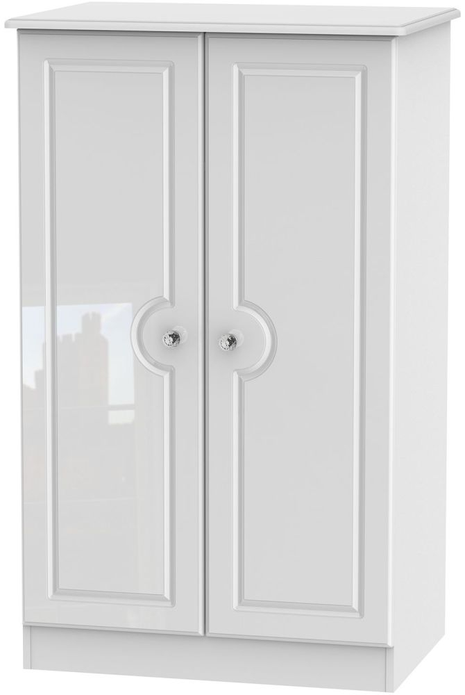 Balmoral High Gloss White 2 Door Plain Midi Wardrobe