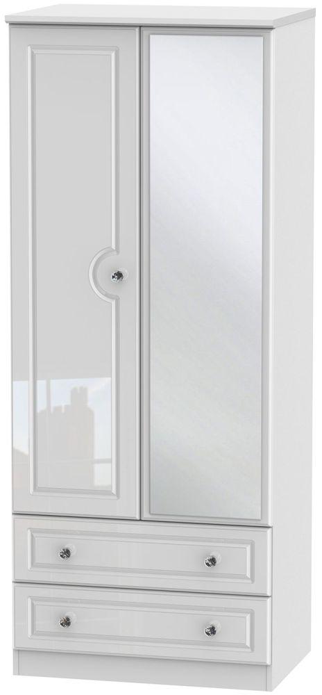 Balmoral High Gloss White 2 Door 2 Drawer Mirror Wardrobe