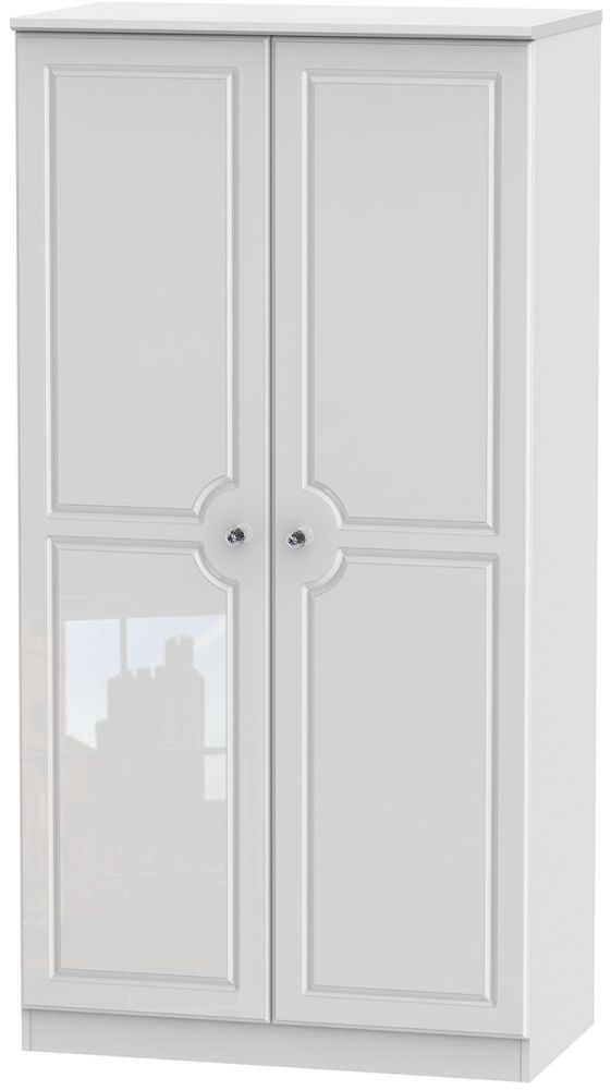 Balmoral High Gloss White 2 Door 3ft Wardrobe