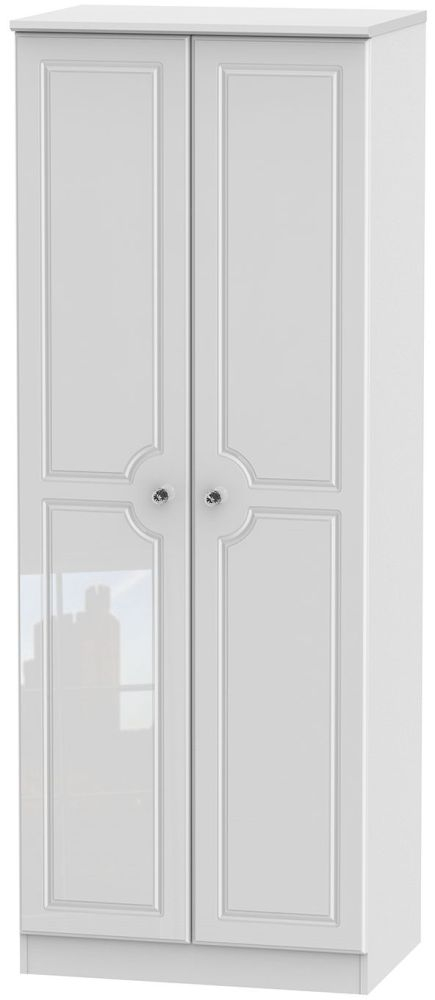 Balmoral High Gloss White 2 Door Tall Double Hanging Wardrobe