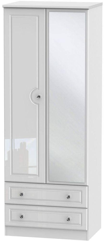 Balmoral High Gloss White 2 Door Tall Mirror Combi Wardrobe