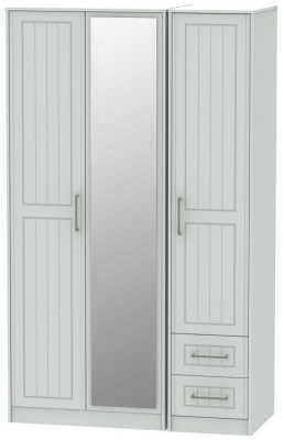 Botany Bay Painted 3 Door 2 Left Drawer Tall Mirror Triple Wardrobe