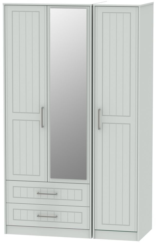 Botany Bay Painted 3 Door 2 Right Drawer Tall Mirror Triple Wardrobe