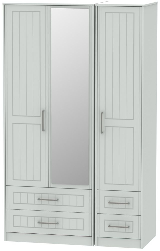 Botany Bay Painted 3 Door 4 Drawer Tall Mirror Triple Wardrobe