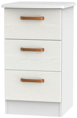 Buckingham Aurello White 3 Drawer Bedside Cabinet