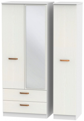 Buckingham Aurello White 3 Door 2 Left Drawer Mirror Wardrobe