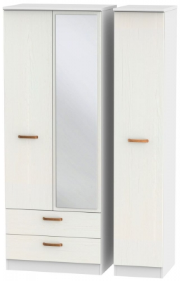 Buckingham Aurello White 3 Door 2 Left Drawer Tall Mirror Wardrobe