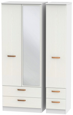 Buckingham Aurello White 3 Door 4 Drawer Tall Mirror Wardrobe
