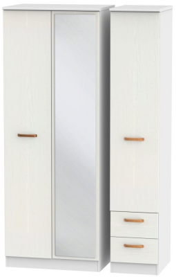 Buckingham Aurello White 3 Door 2 Right Drawer Tall Mirror Wardrobe