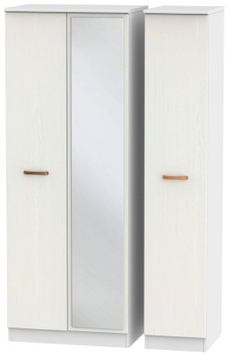 Buckingham Aurello White 3 Door Tall Mirror Wardrobe