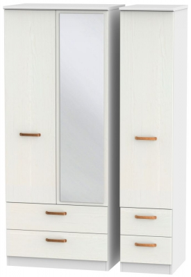 Buckingham Aurello White 3 Door 4 Drawer Mirror Wardrobe