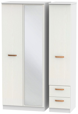 Buckingham Aurello White 3 Door 2 Right Drawer Mirror Wardrobe