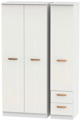 Buckingham Aurello White 3 Door 2 Right Drawer Plain Wardrobe