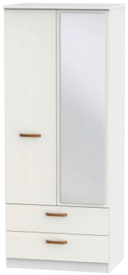 Buckingham Aurello White 2 Door Mirror Combi Wardrobe