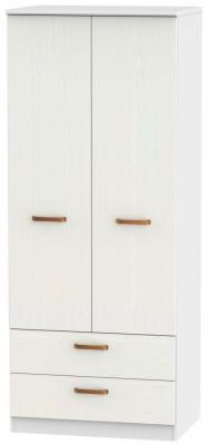 Buckingham Aurello White 2 Door 2 Drawer Wardrobe