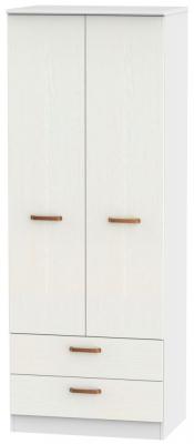 Buckingham Aurello White 2 Door 2 Drawer Tall Wardrobe