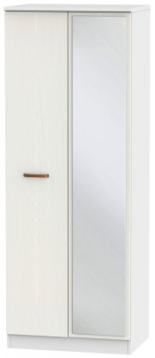 Buckingham Aurello White 2 Door Tall Mirror Wardrobe