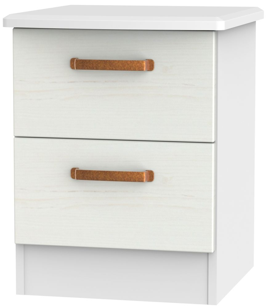 Buckingham Aurello White 2 Drawer Locker Bedside Cabinet