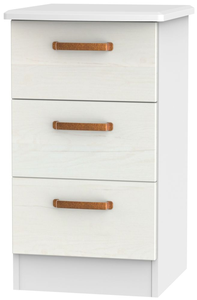 Buckingham Aurello White Bedside Cabinet - 3 Drawer Locker