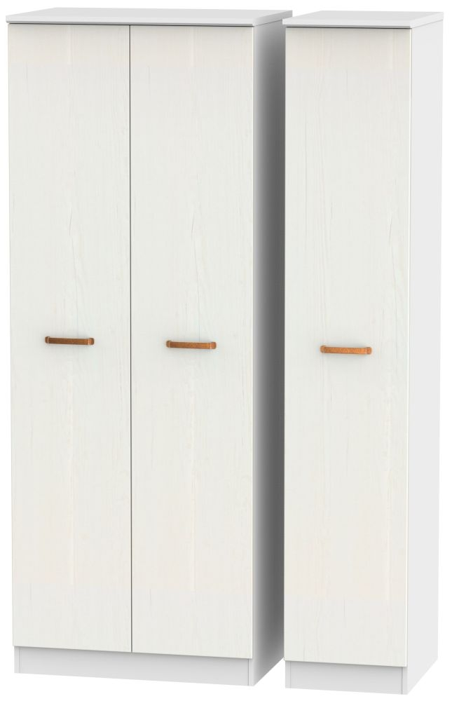 Buckingham Aurello White Triple Wardrobe - Tall Plain