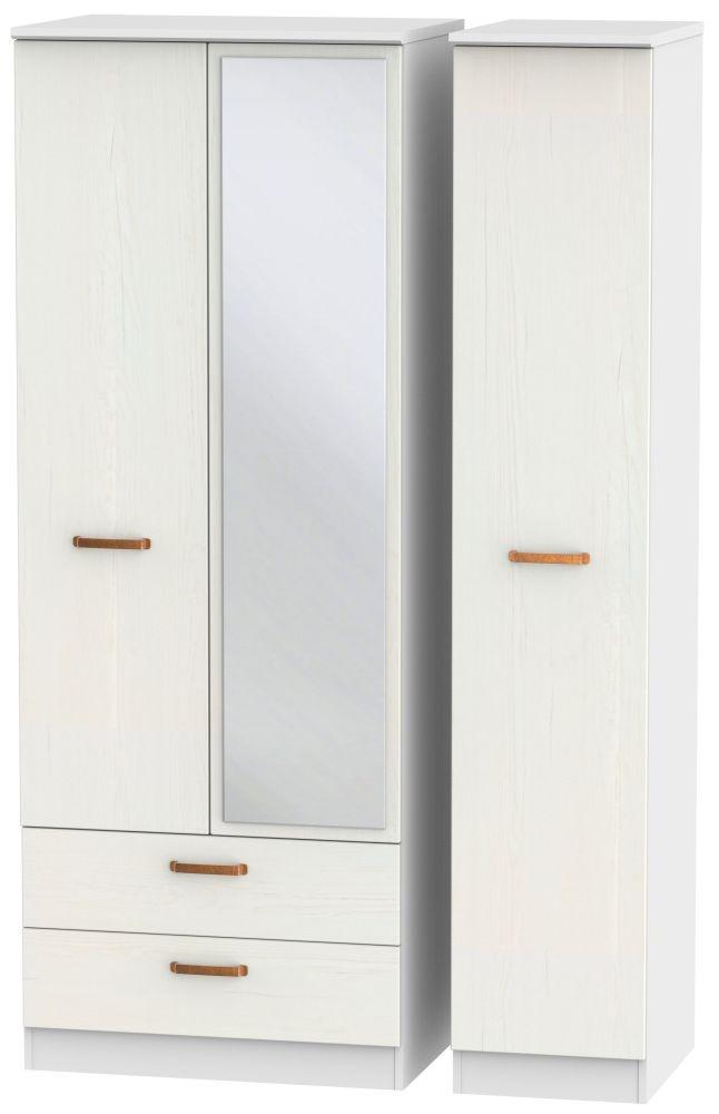 Buckingham Aurello White 3 Door 2 Left Drawer Tall Mirror Triple Wardrobe
