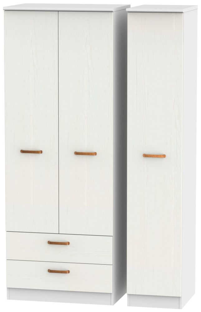 Buckingham Aurello White 3 Door 2 Drawer Tall Wardrobe