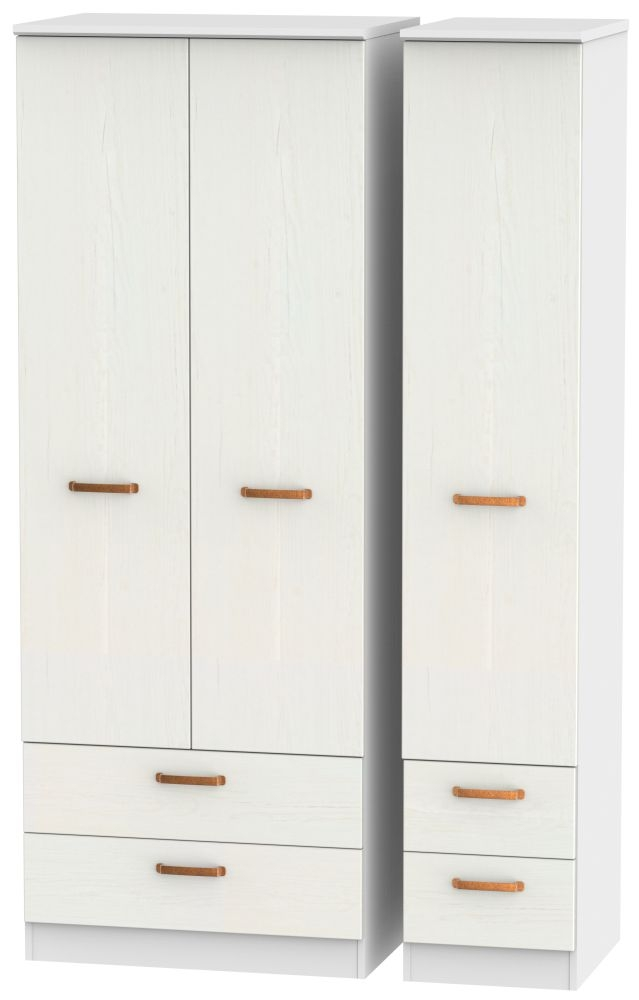 Buckingham Aurello White 3 Door 4 Drawer Tall Triple Wardrobe