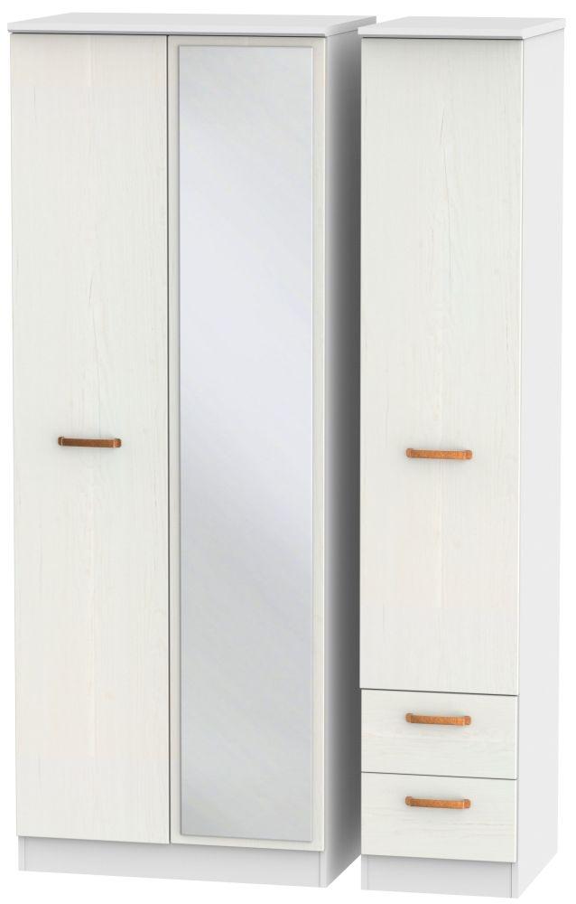 Buckingham Aurello White 3 Door 2 Right Drawer Tall Mirror Triple Wardrobe