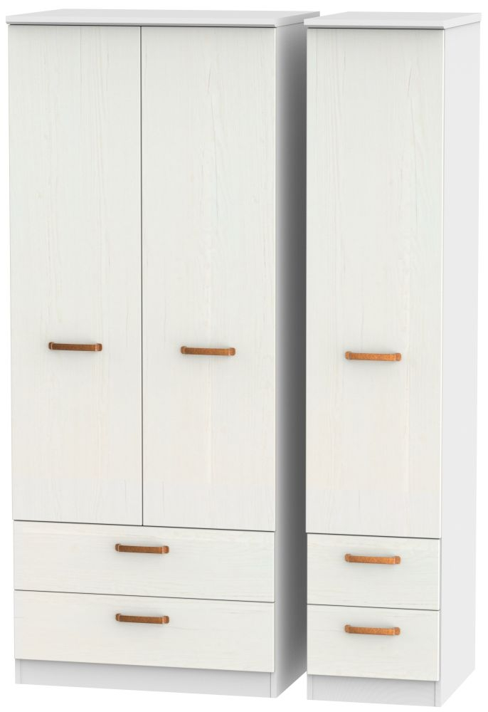 Buckingham Aurello White 3 Door 4 Drawer Wardrobe