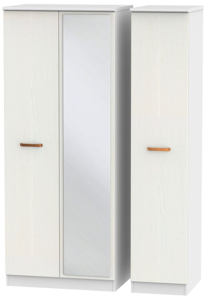 Buckingham Aurello White 3 Door Mirror Triple Wardrobe