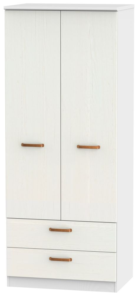 Buckingham Aurello White Wardrobe - 2ft 6in 2 Drawer