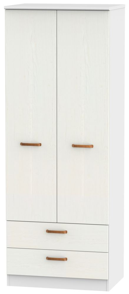 Buckingham Aurello White 2 Door 2 Drawer Tall Wardrobe
