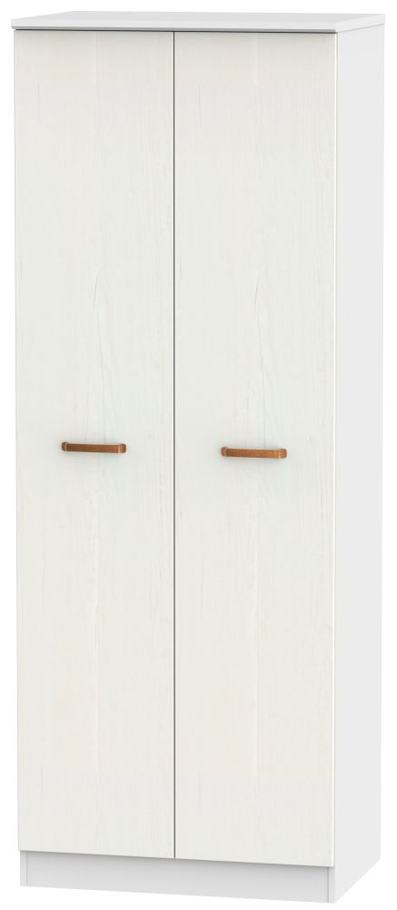 Buckingham Aurello White 2 Door Tall Double Hanging Wardrobe