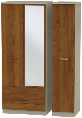 Buckingham Bali Oak 3 Door 2 Left Drawer Combi Wardrobe