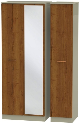 Buckingham Bali Oak 3 Door Tall Mirror Wardrobe