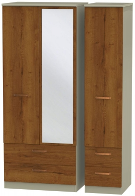 Buckingham Bali Oak 3 Door 4 Drawer Mirror Wardrobe