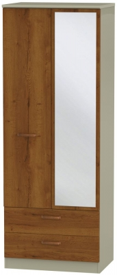 Buckingham Bali Oak 2 Door Tall Mirror Combi Wardrobe