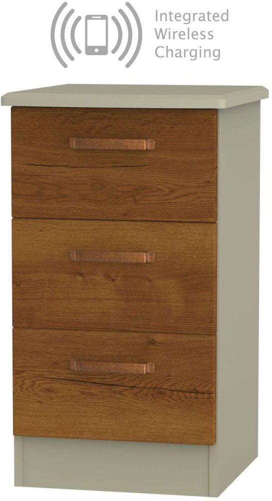 Buckingham Bali Oak 3 Drawer Bedside Cabinet with Integrated Wireless Charging