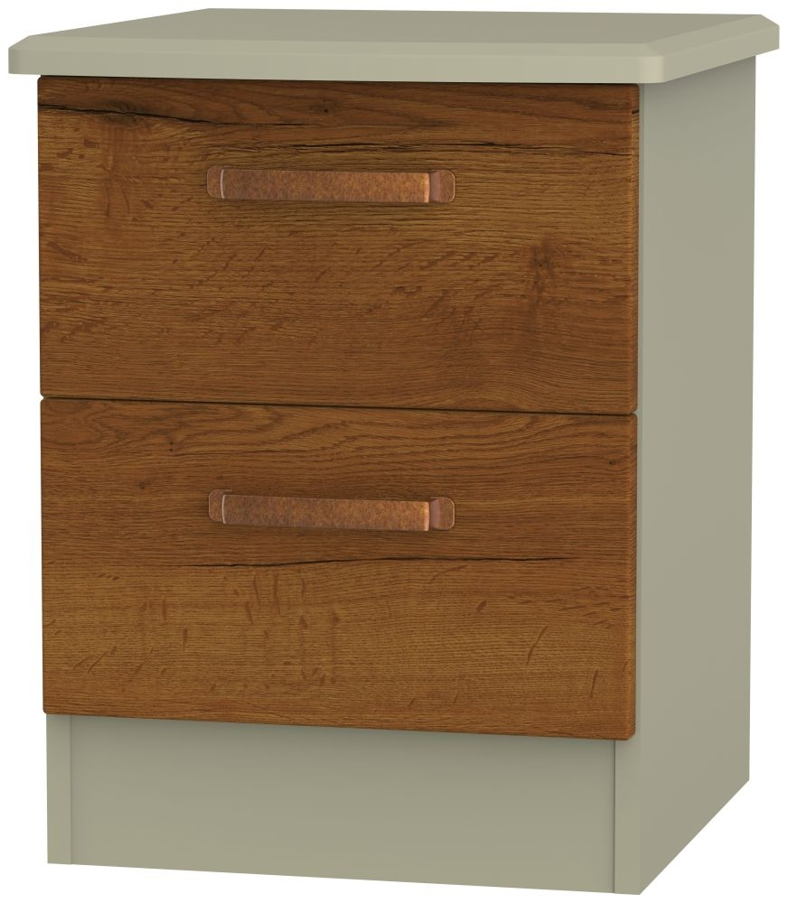 Buckingham Bali Oak 2 Drawer Locker Bedside Cabinet