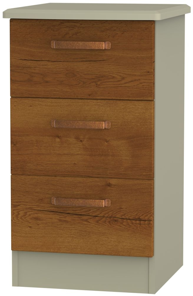 Buckingham Bali Oak Bedside Cabinet - 3 Drawer Locker