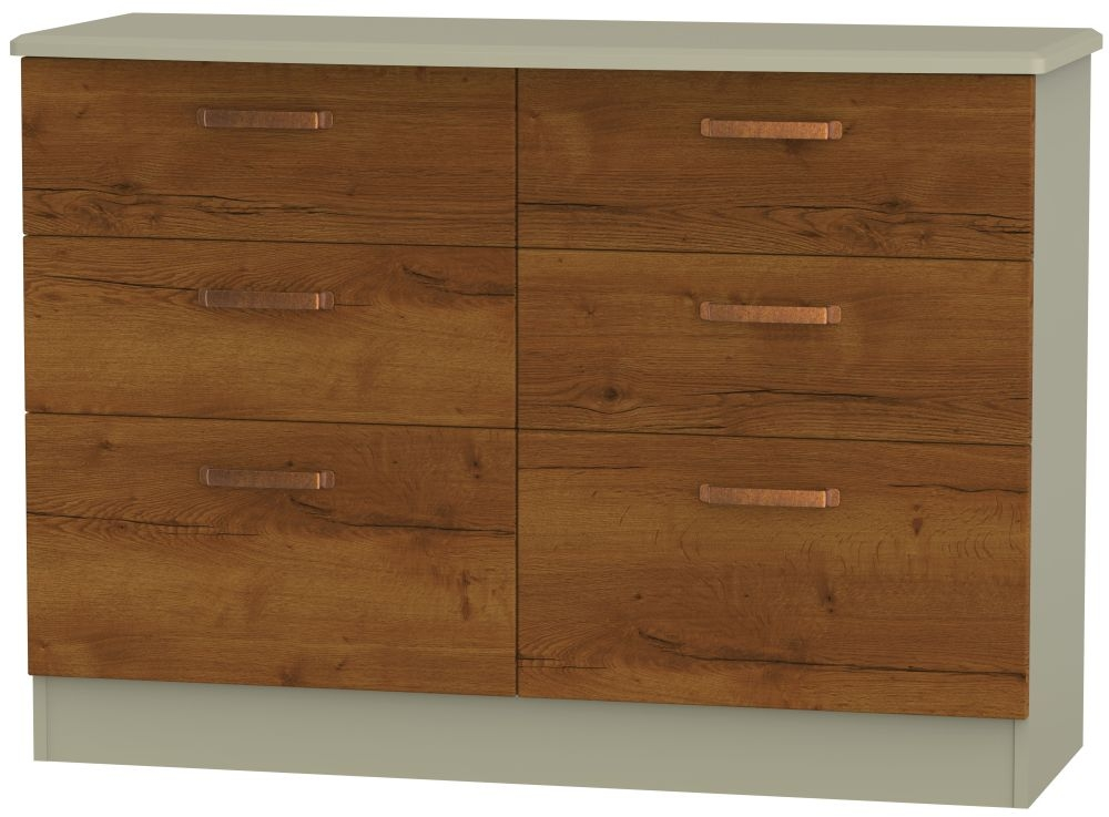 Buckingham Bali Oak Chest of Drawer - 6 Drawer Midi