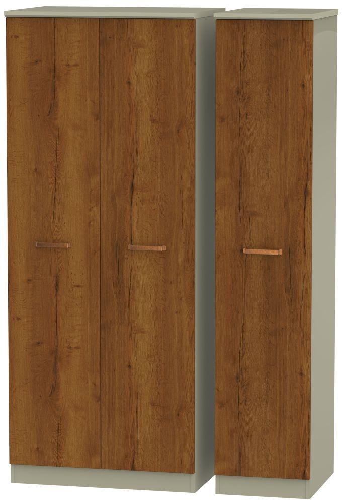 Buckingham Bali Oak Triple Plain Wardrobe