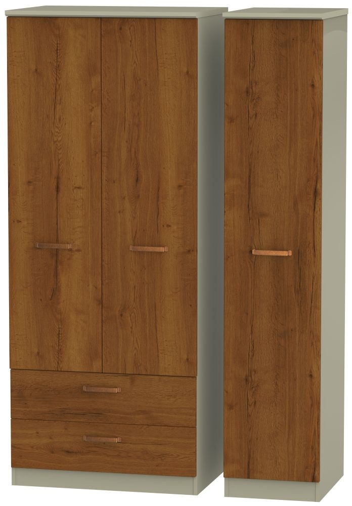 Buckingham Bali Oak 3 Door 2 Left Drawer Wardrobe